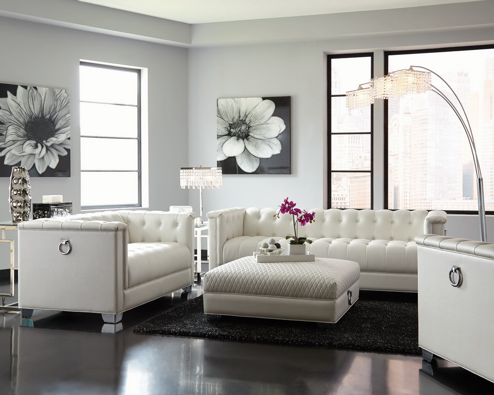 Chaviano Sofa In White Leatherette 505391 By Coaster W Options: Chaviano Pearl White Collection