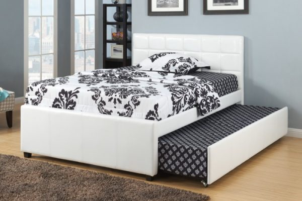 F9216 WHITE TWIN BED WITH TRUNDLE