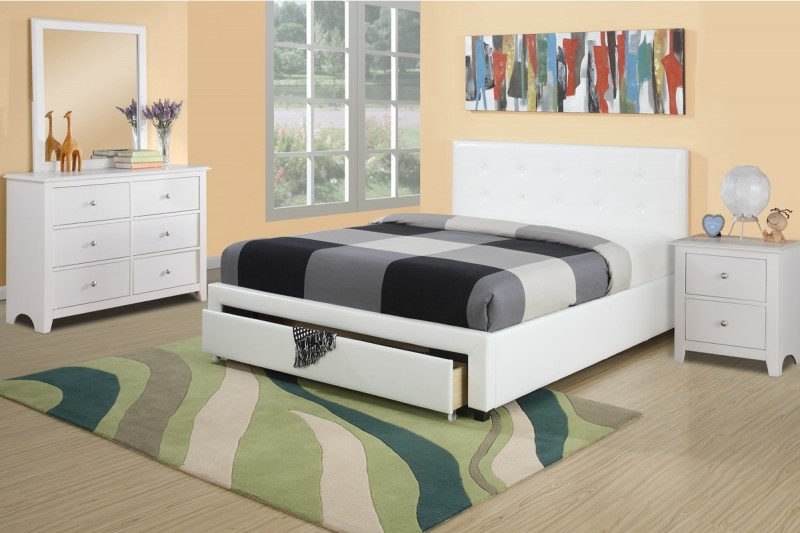 white bedroom set with under drawer with extra storage