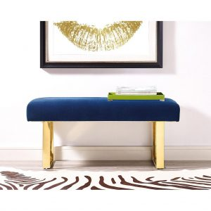 Alexis Royal Blue with gold legs bench