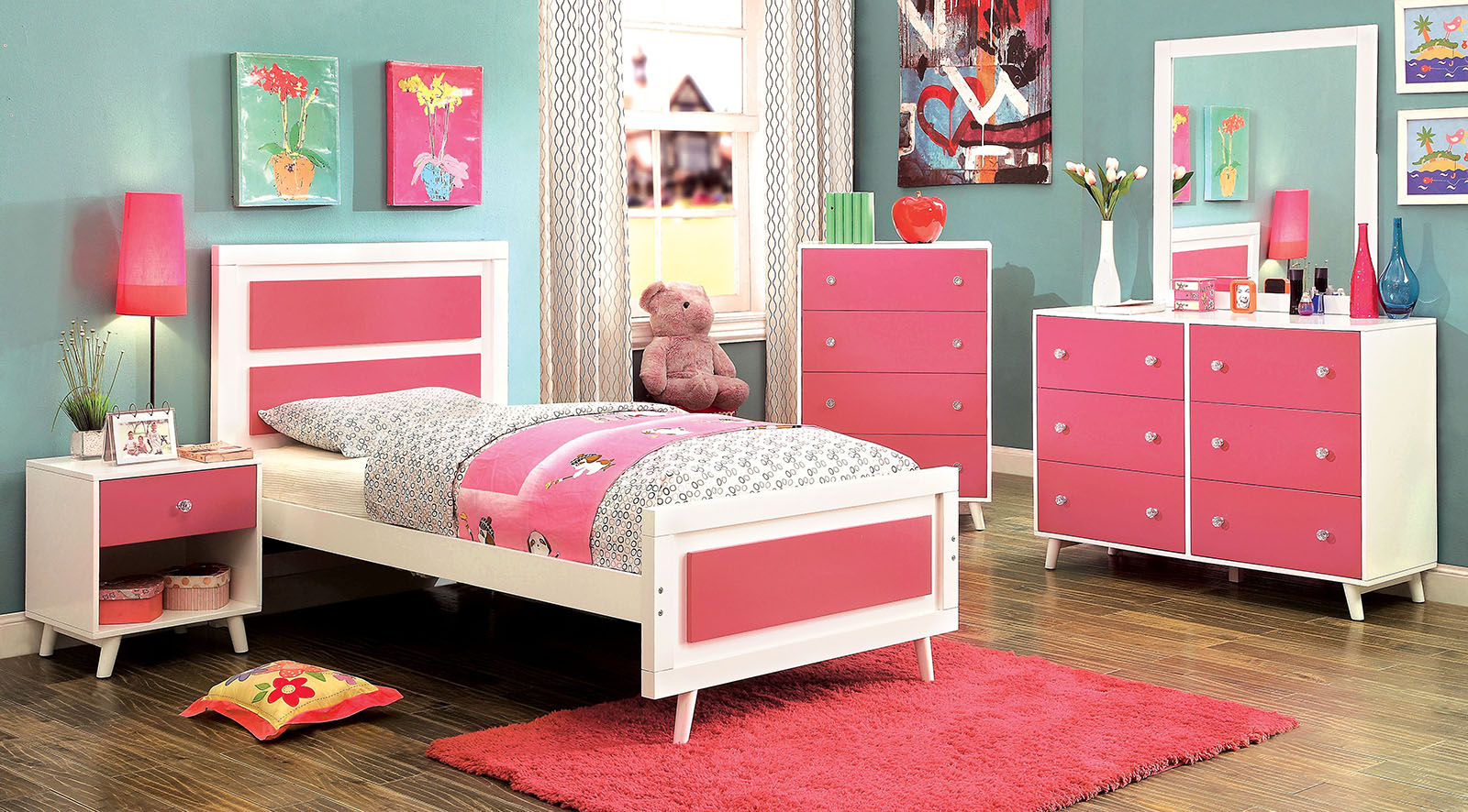 alivia pink and white kids bedroom set | las vegas furniture store | modern home furniture