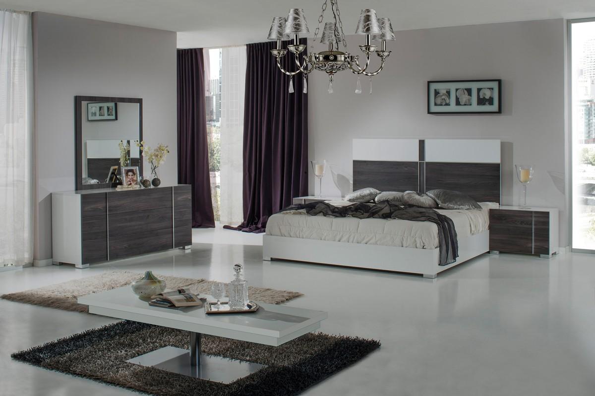 Domus Corrado Italian White & Grey Bedroom Set