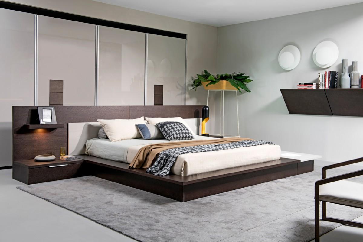 Torino Brown Oak Amp Grey Platform Bed W Lights Las Vegas