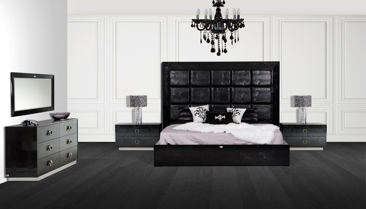 Victoria Black Crocodile Bedroom Set Las Vegas Furniture Store