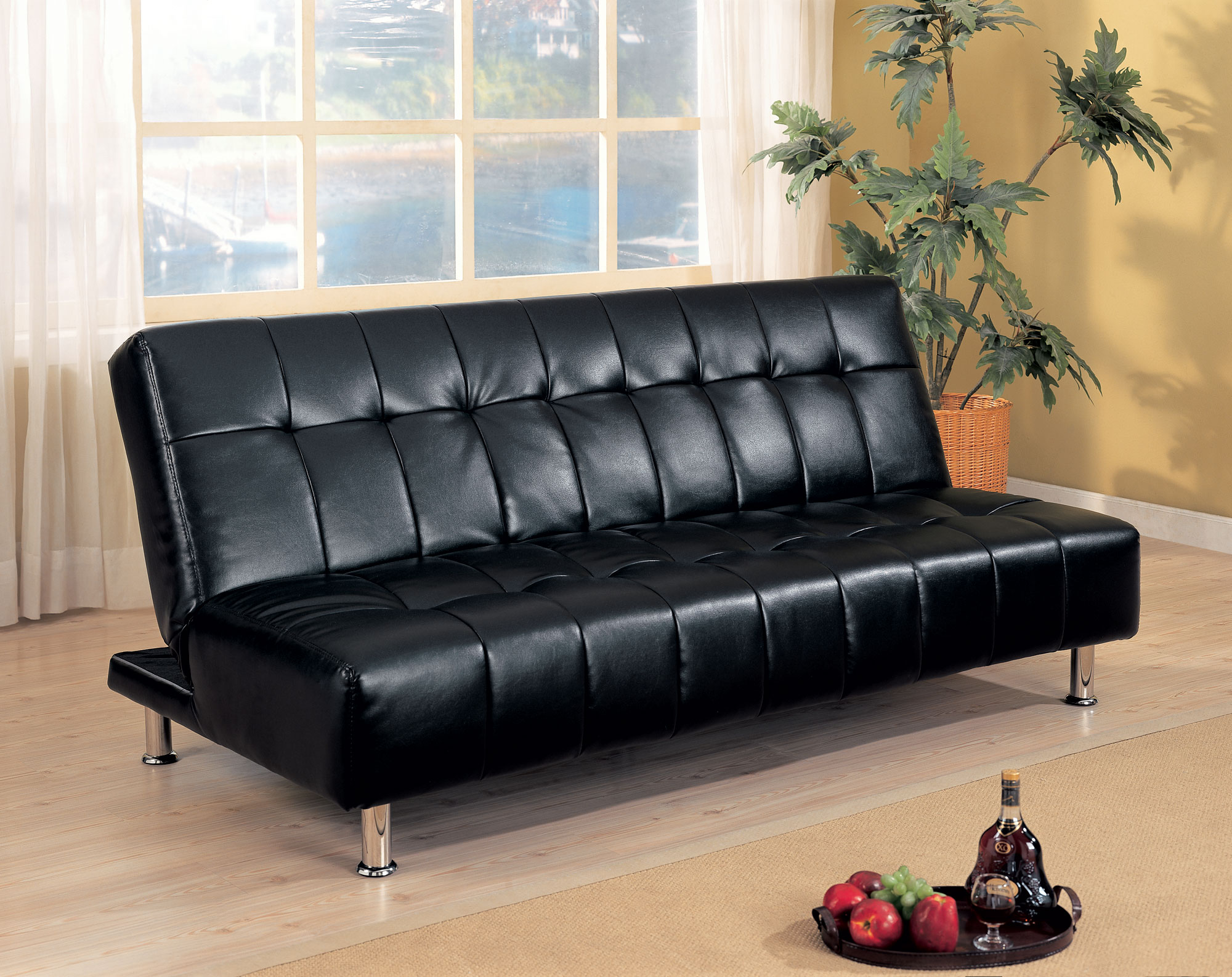 Manny Black Leatherette Futon Collection