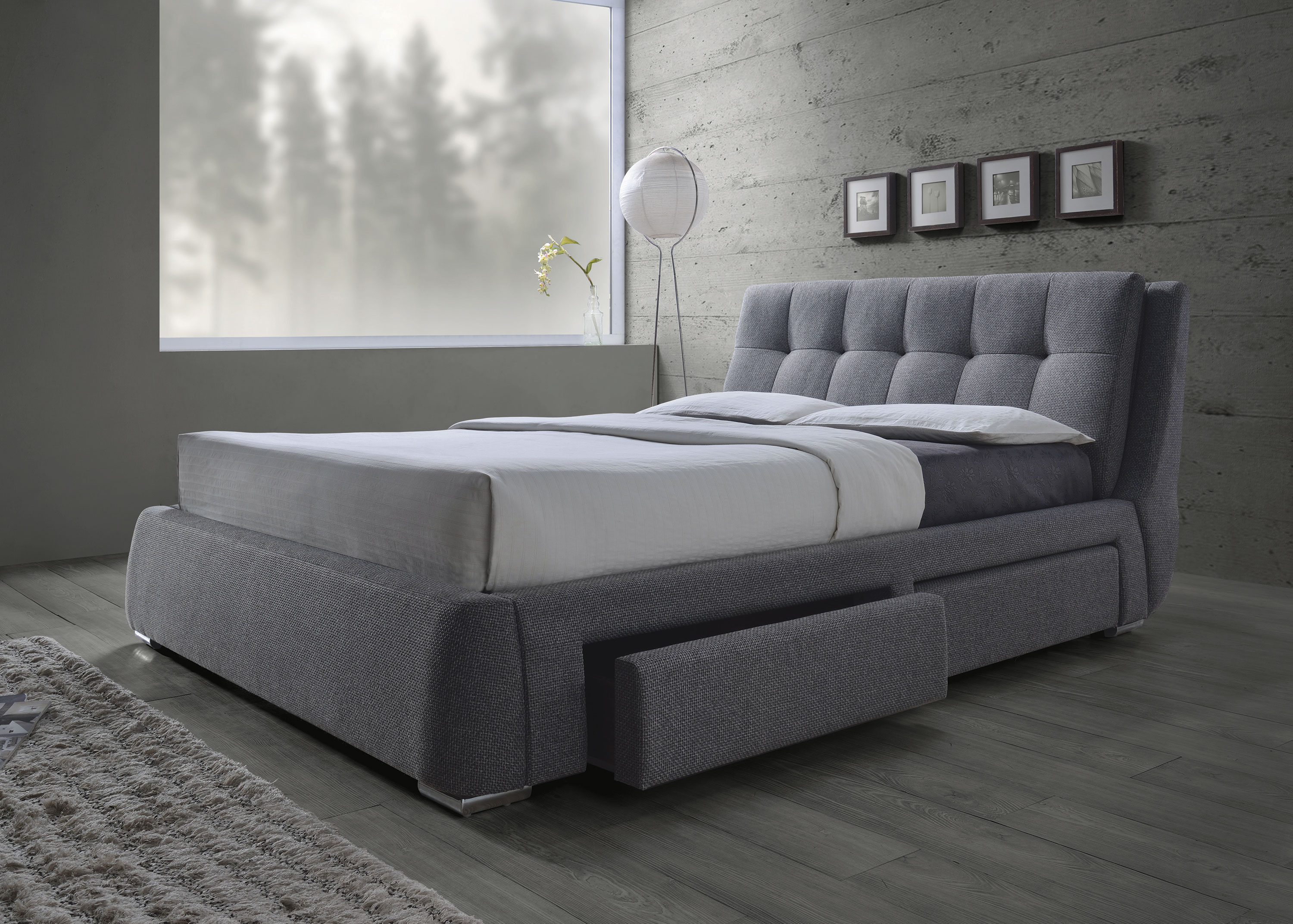 Fenbrook Grey Fabric Bed with Drawers