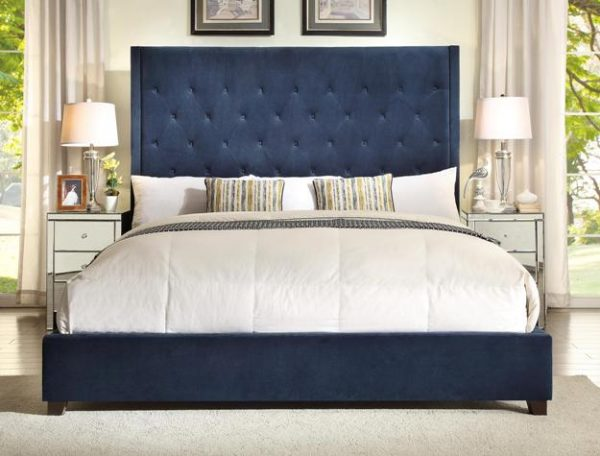 5286-NV navy blue fabric bed