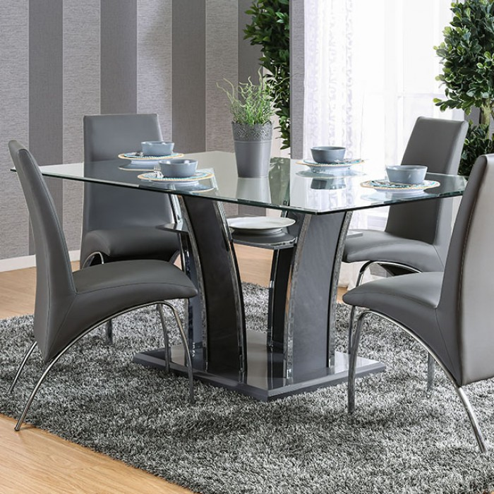 Glenview I Grey Lacquer Glass Top Dining Collection