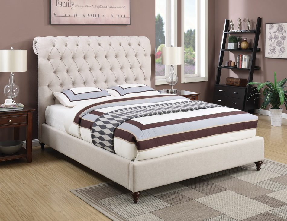 300525 beige fabric bed