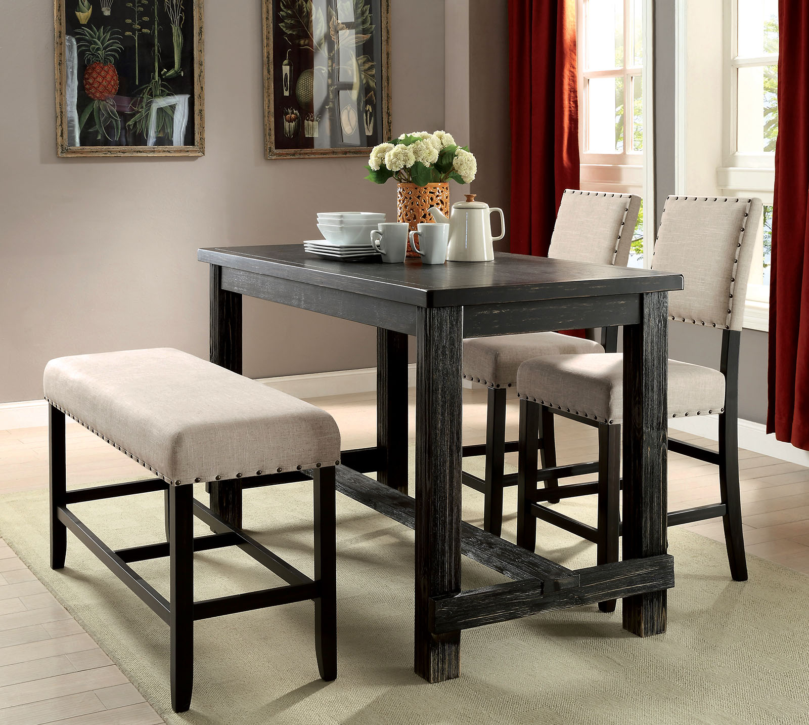 Sania Ii Antique Black Pub Table Collection Las Vegas