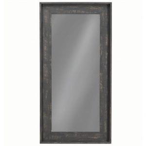 Distressed Black Floor Mirror