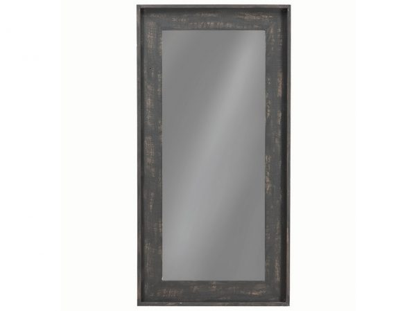 Distressed Black Floor Mirror