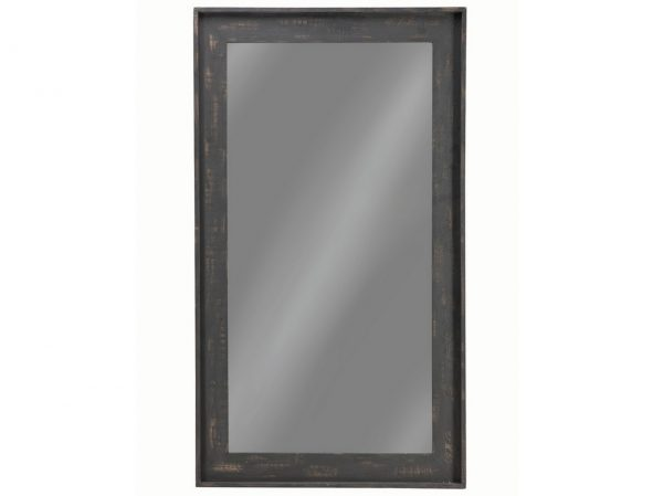 Distressed Black Large Floor Mirror