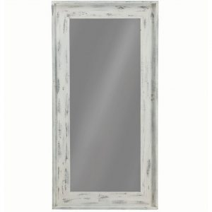 Distressed White Floor Mirror