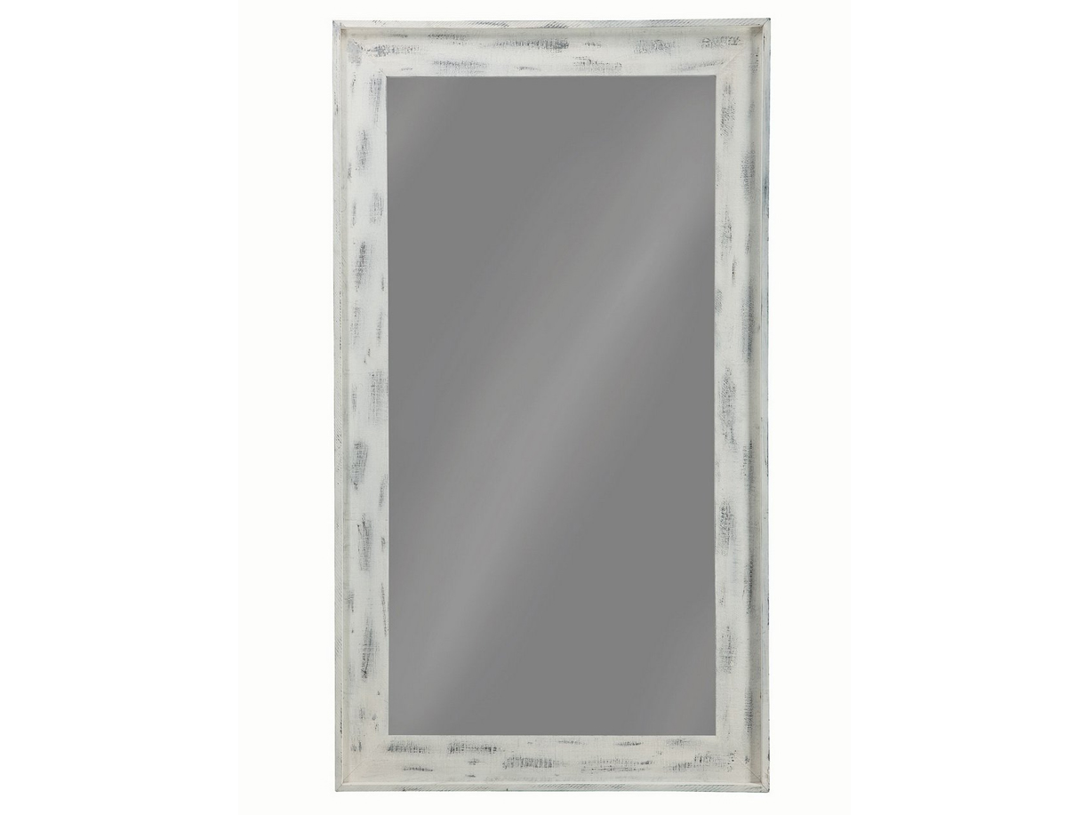 Distressed white large floor mirror las vegas furniture for Large white mirror