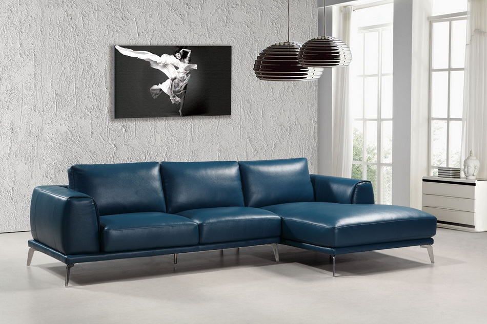 Drancy Modern Blue Leather Sectional