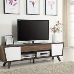 700793 mid century tv stand two tone glossy white and chesnut