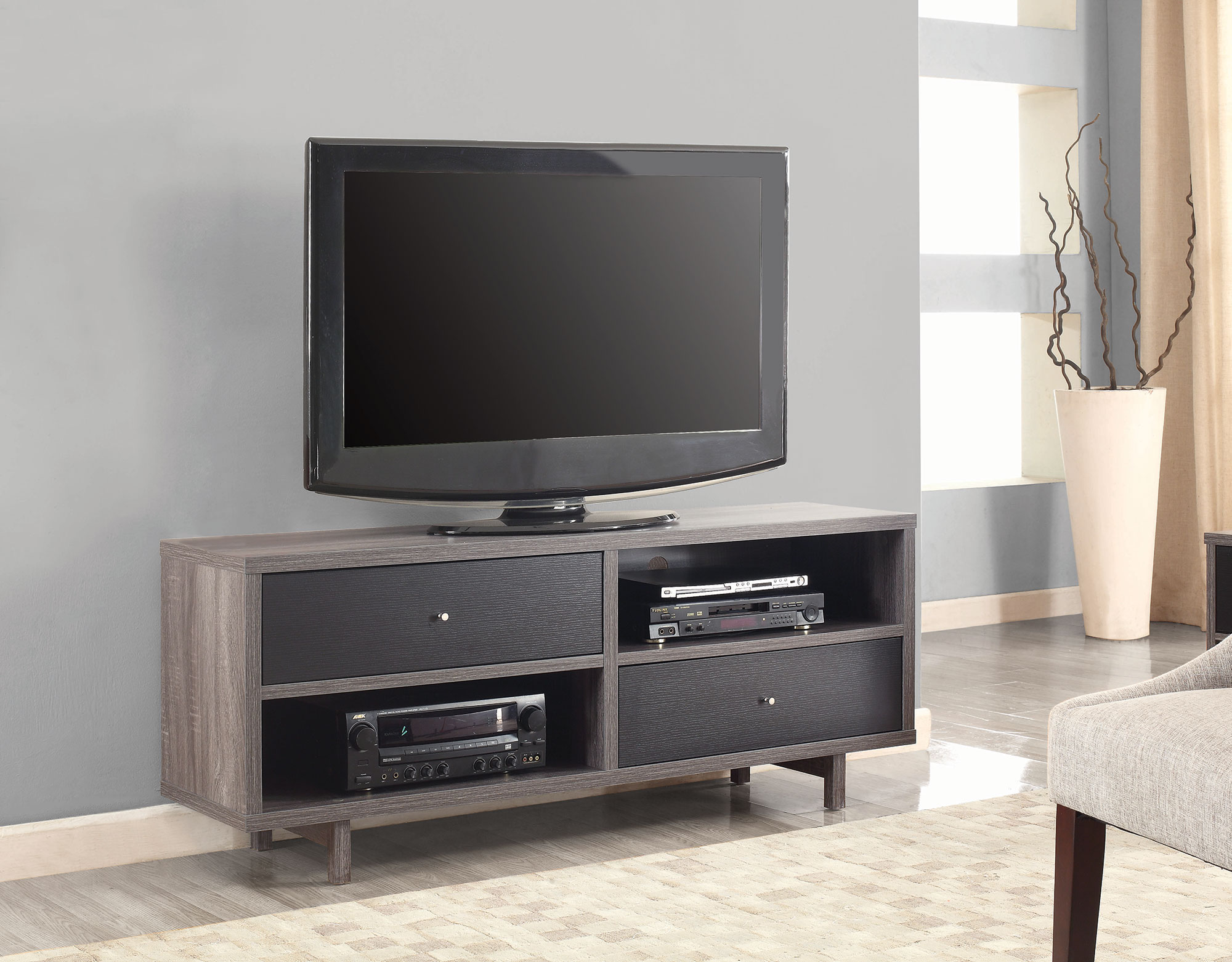 Distress GreyBlack TV Stand Las Vegas Furniture Store