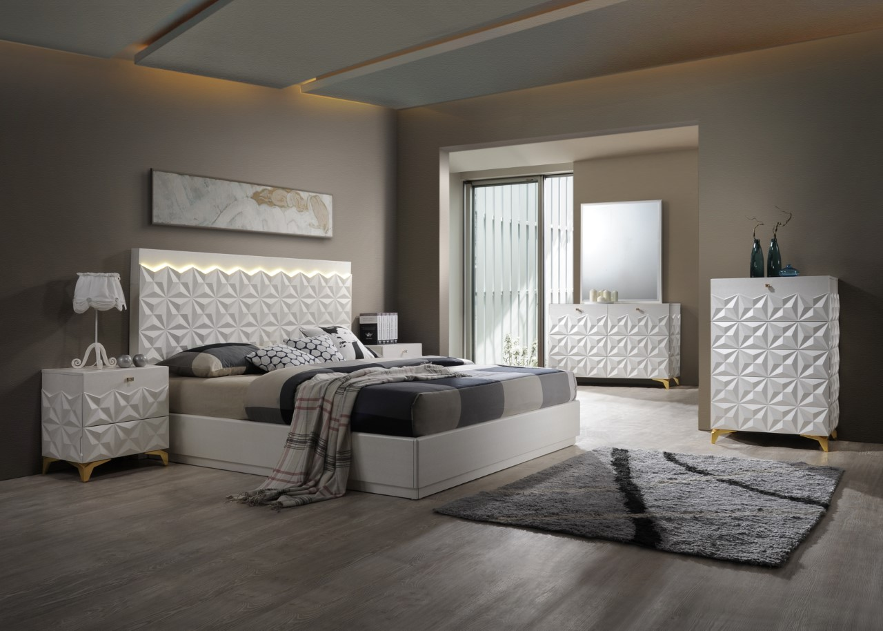 India White Gold Bedroom Collection Las Vegas Furniture Store Modern Home Furniture