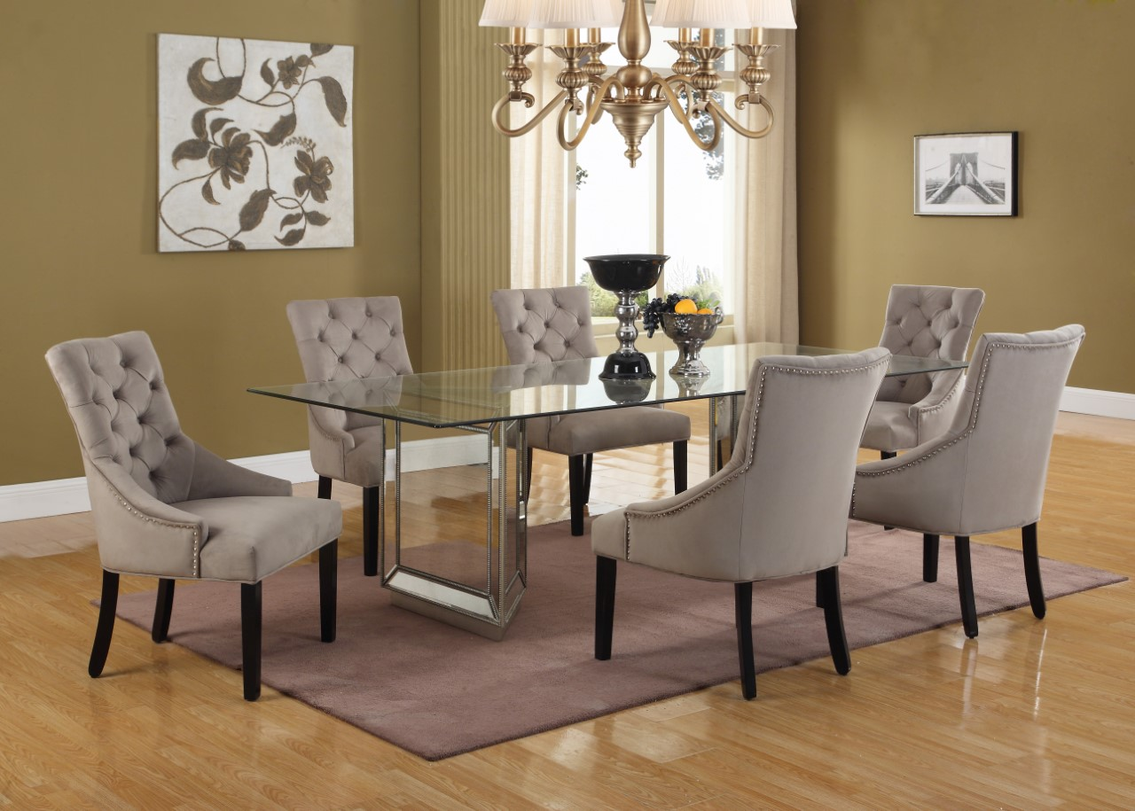 Destiny Glass And Mirror Dining Set Collection Las Vegas
