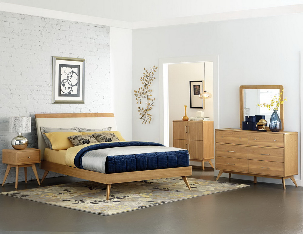 Anika light ash finish mid century bedroom collection for Bedroom furniture 89117