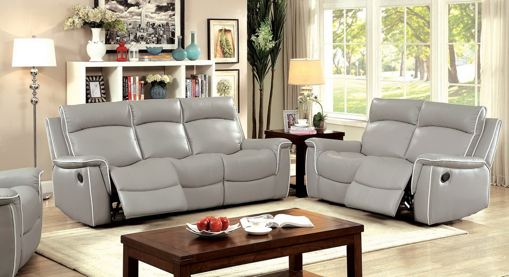 Salome Light Grey Bonded Leather Recliner Collection Las