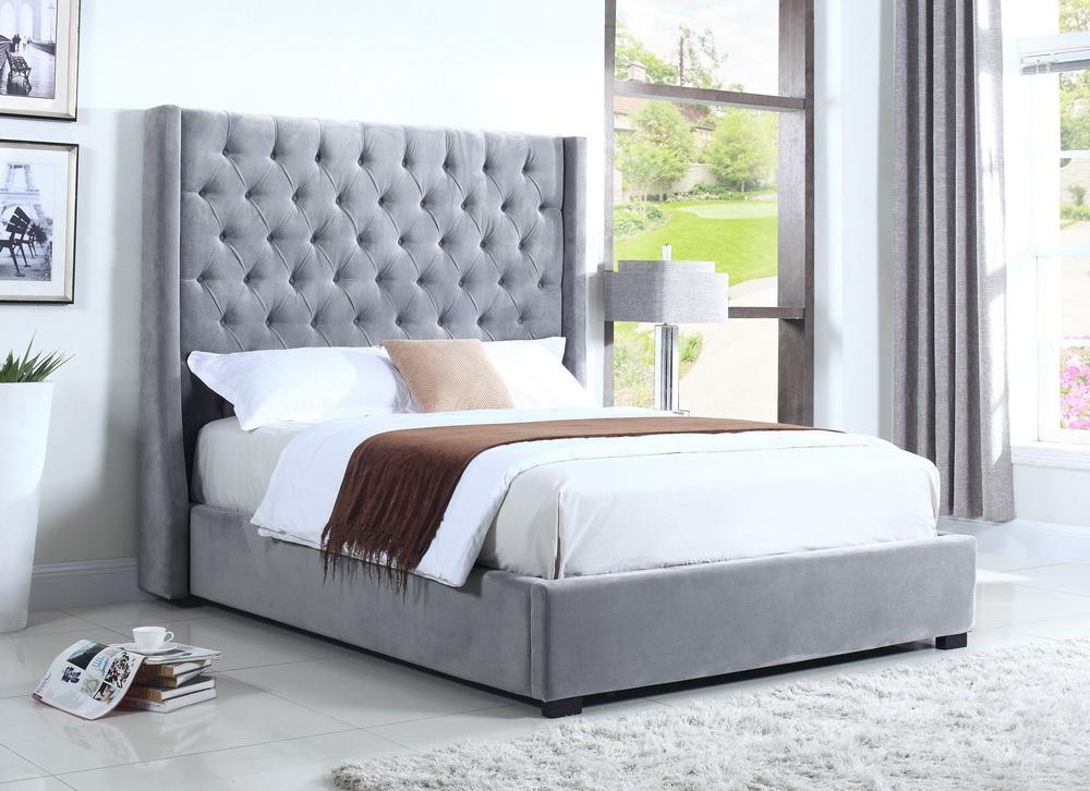 Grey Velvet Tall Headboard Tufted Bed   Las Vegas Furniture Store ...