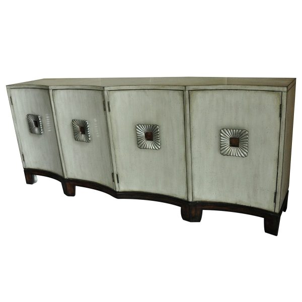 CVFZR1860 Georgetown 4 Shaped Door Antique Ivory Sideboard