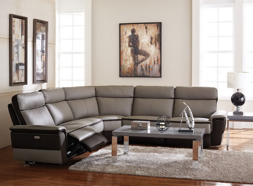 Laertes recliner sectional genuine leather