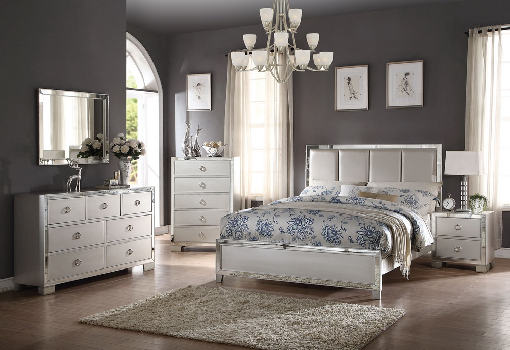 Voeville Iii Platnum Silver Bedroom Collection Las Vegas Furniture Store Modern Home