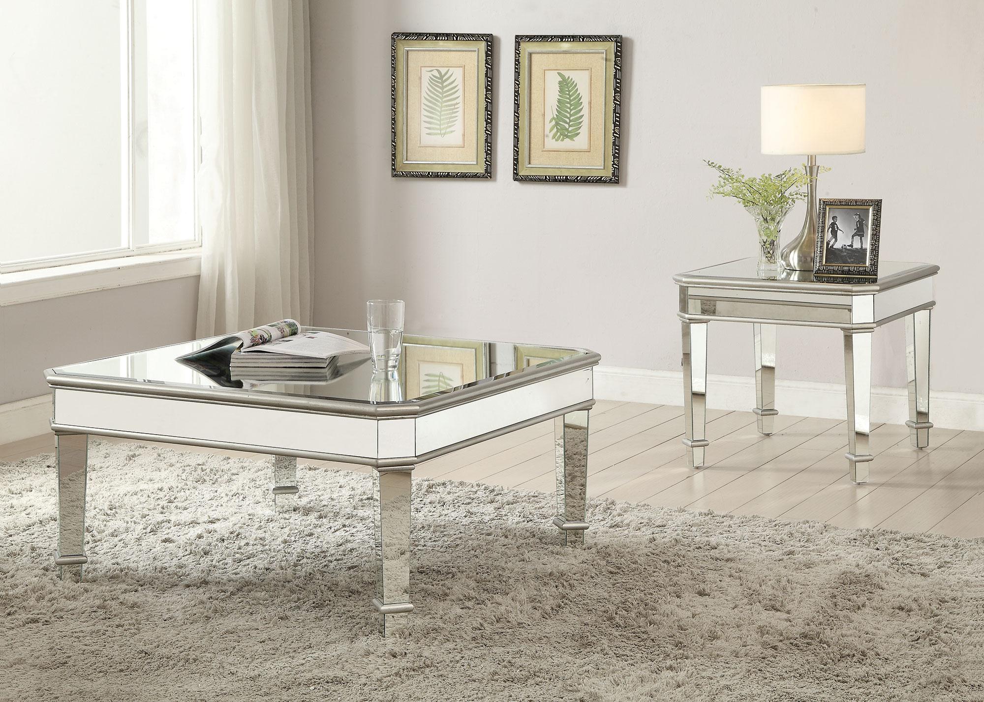 Gwen silver mirror contemporary coffee table collection