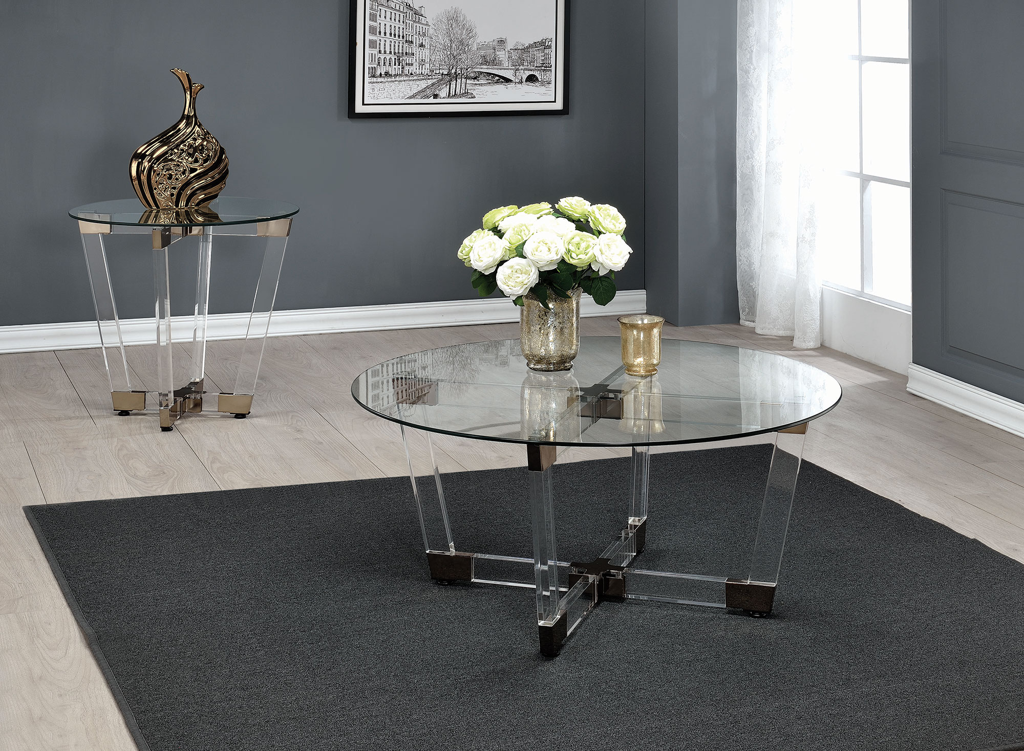 Cleo Acrylic Round Glass Coffee Table Collection Las Vegas Furniture Store Modern Home