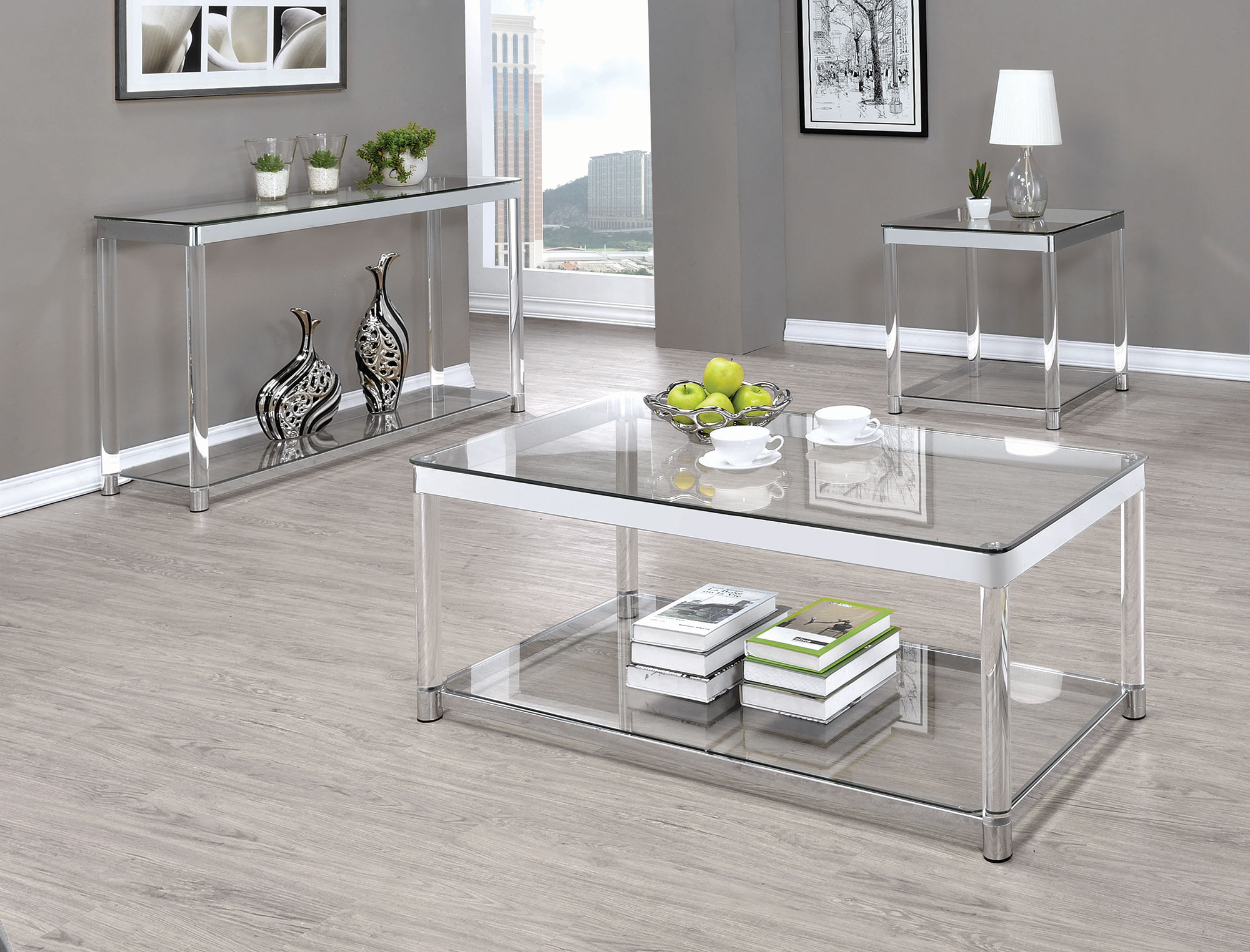Acrylic Chrome and Glass Coffee Table Collection Las  : 720747 720749 from www.vegashomefurniture.com size 2000 x 1525 jpeg 512kB