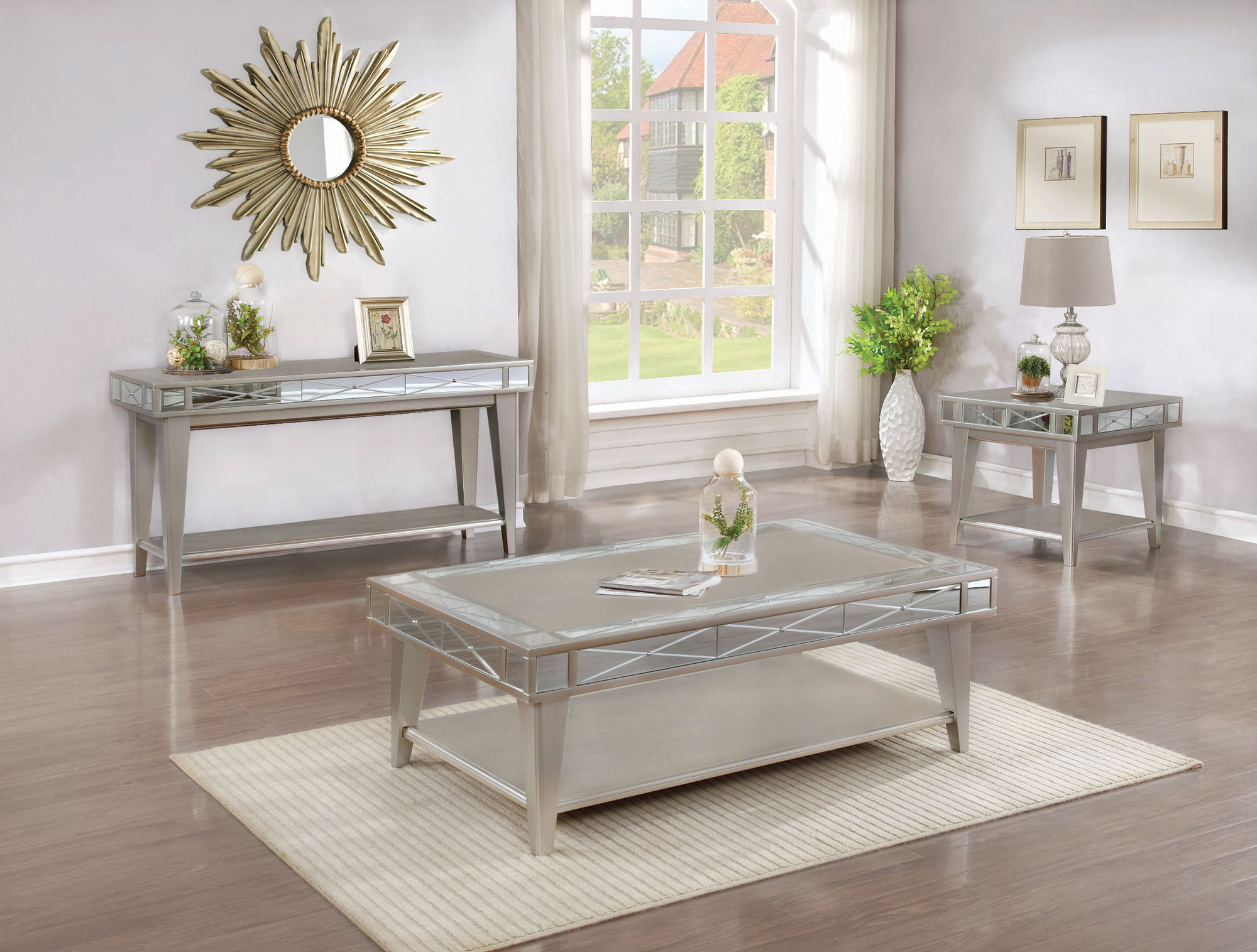 Zinna Mercury Bling Coffee Table Collection Las Vegas