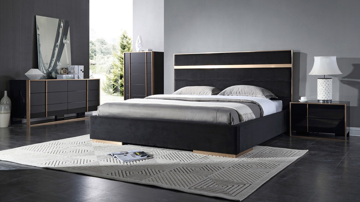 Domus cartier black brush bronze bedroom collection for Bedroom ideas velvet bed