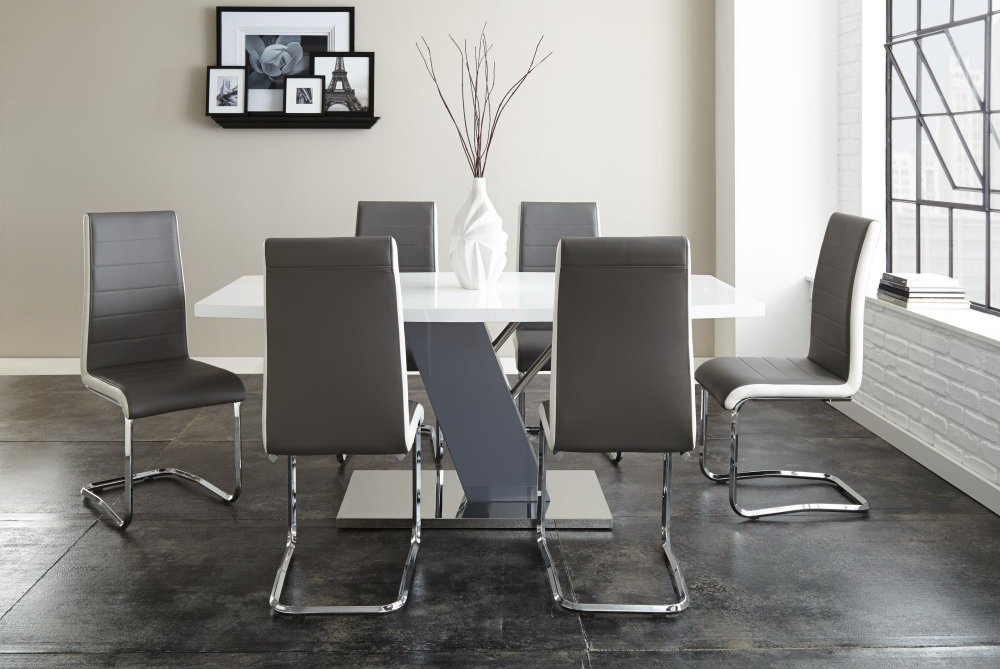 Nevada Grey High Gloss Dining Collection Las Vegas