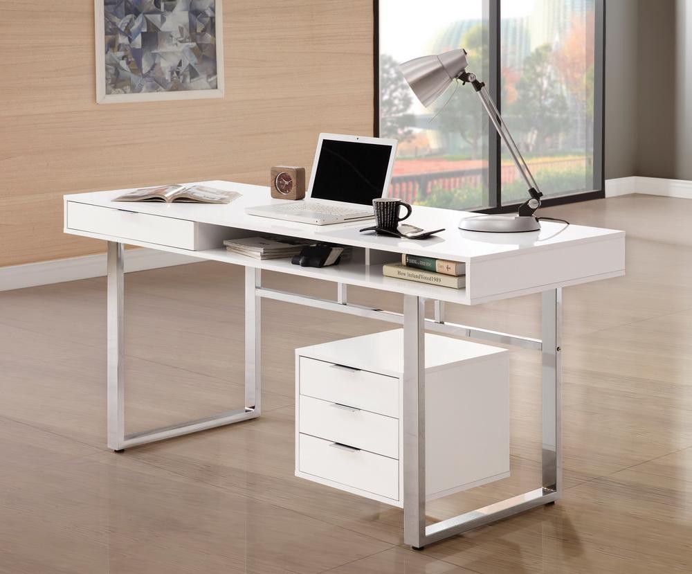 Rafael White Lacquer Office Desk Collection Las Vegas Furniture Store Modern Home Furniture