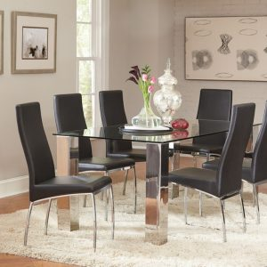 107111-107112 modern glass dining table in las vegas by coaster