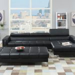 F7363 black sectional bonded leather