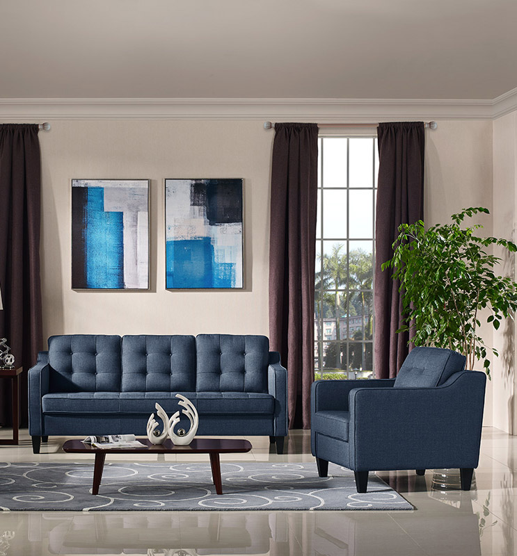 Lucas Blue Fabric Living Room Collection Las Vegas Furniture Store Modern