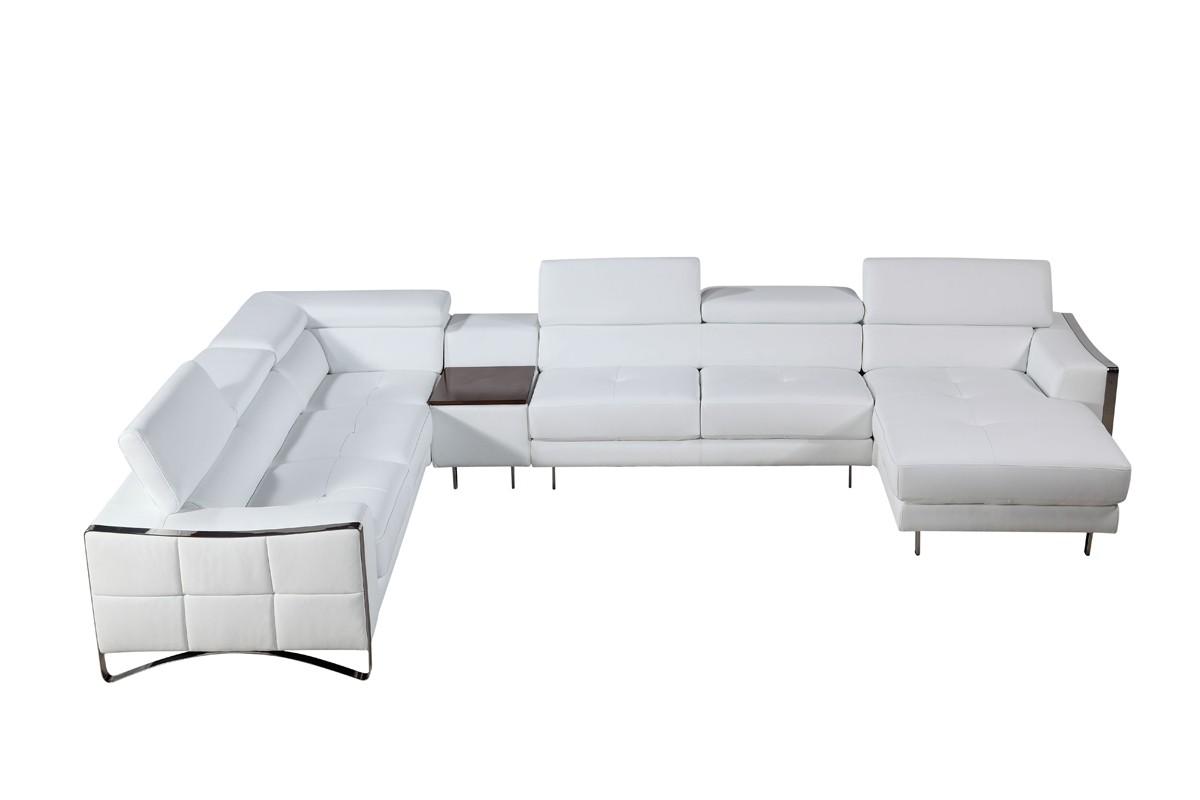 Arles white leather sectional sofa las vegas furniture for Sectional sofa las vegas