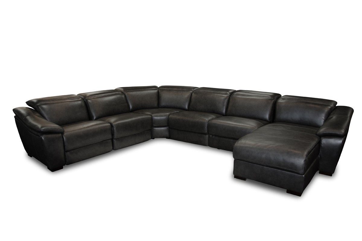 Jasper Black Leather Sectional Sofa