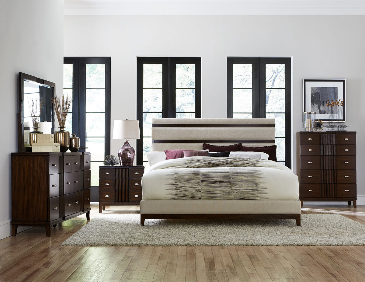pelmar dark walnut finish bedroom collection  las vegas