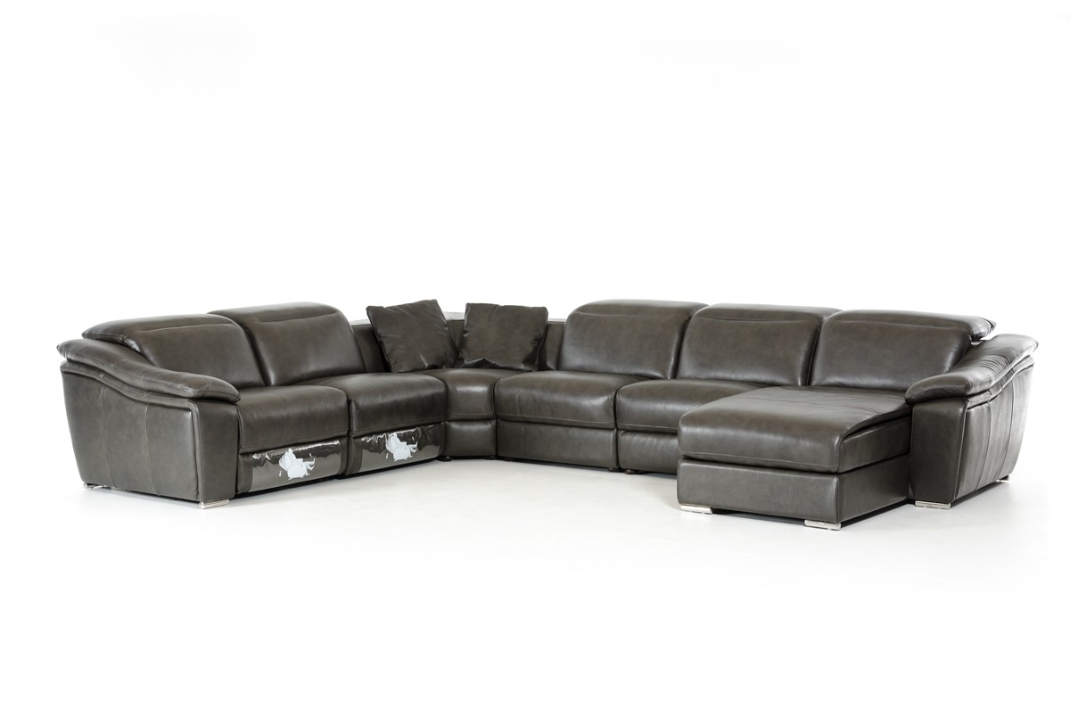 Jasper Dark Grey Leather Sectional Sofa