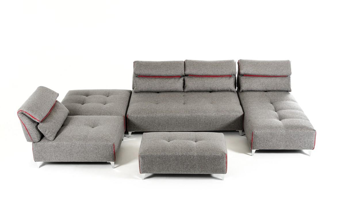 Ferrari grey fabric sectional sofa las vegas furniture for Sectional sofa las vegas