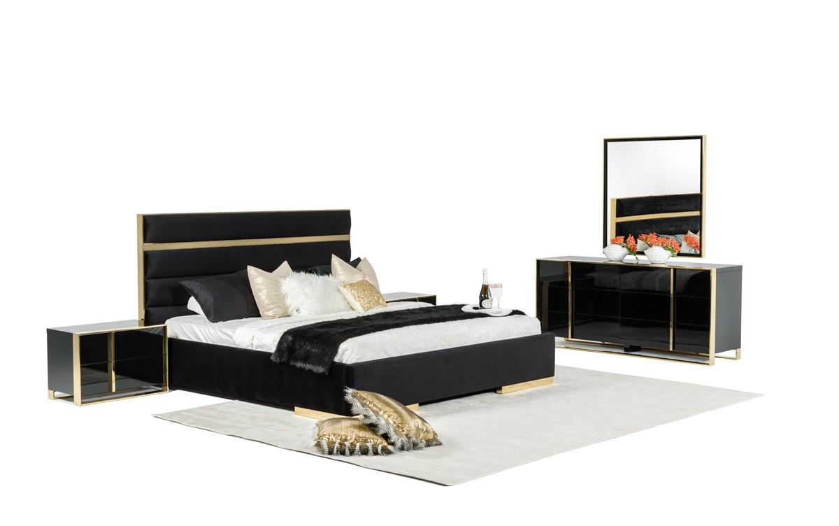 Montblanc Black Gold Bedroom Set Las Vegas Furniture