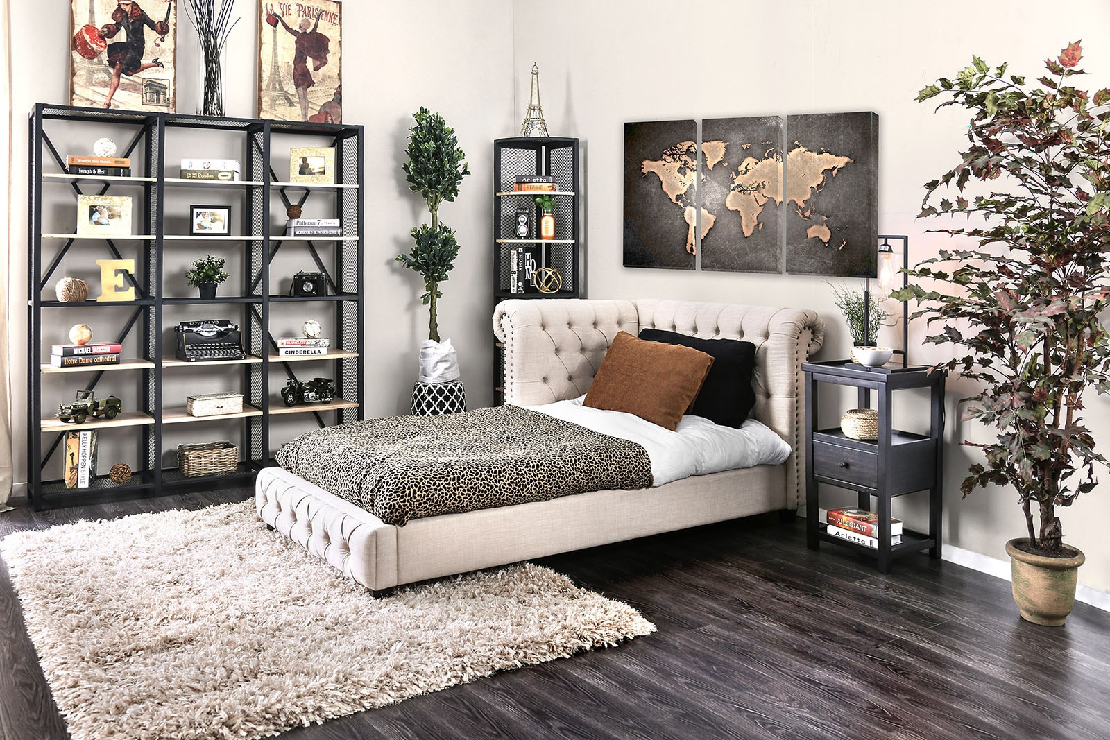 07-CM7196 Merope Twin Tufted Corner Bed $598