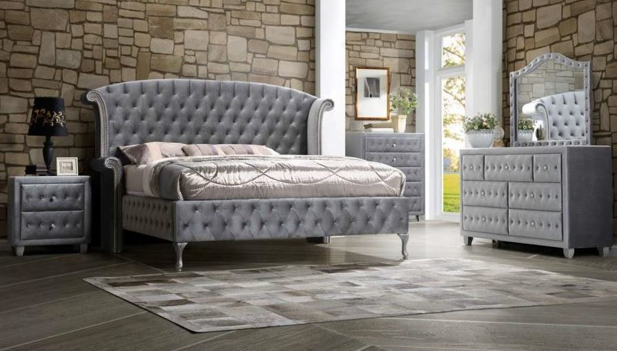 Deanna Grey Velvet Fabric Bedroom Collection Las Vegas