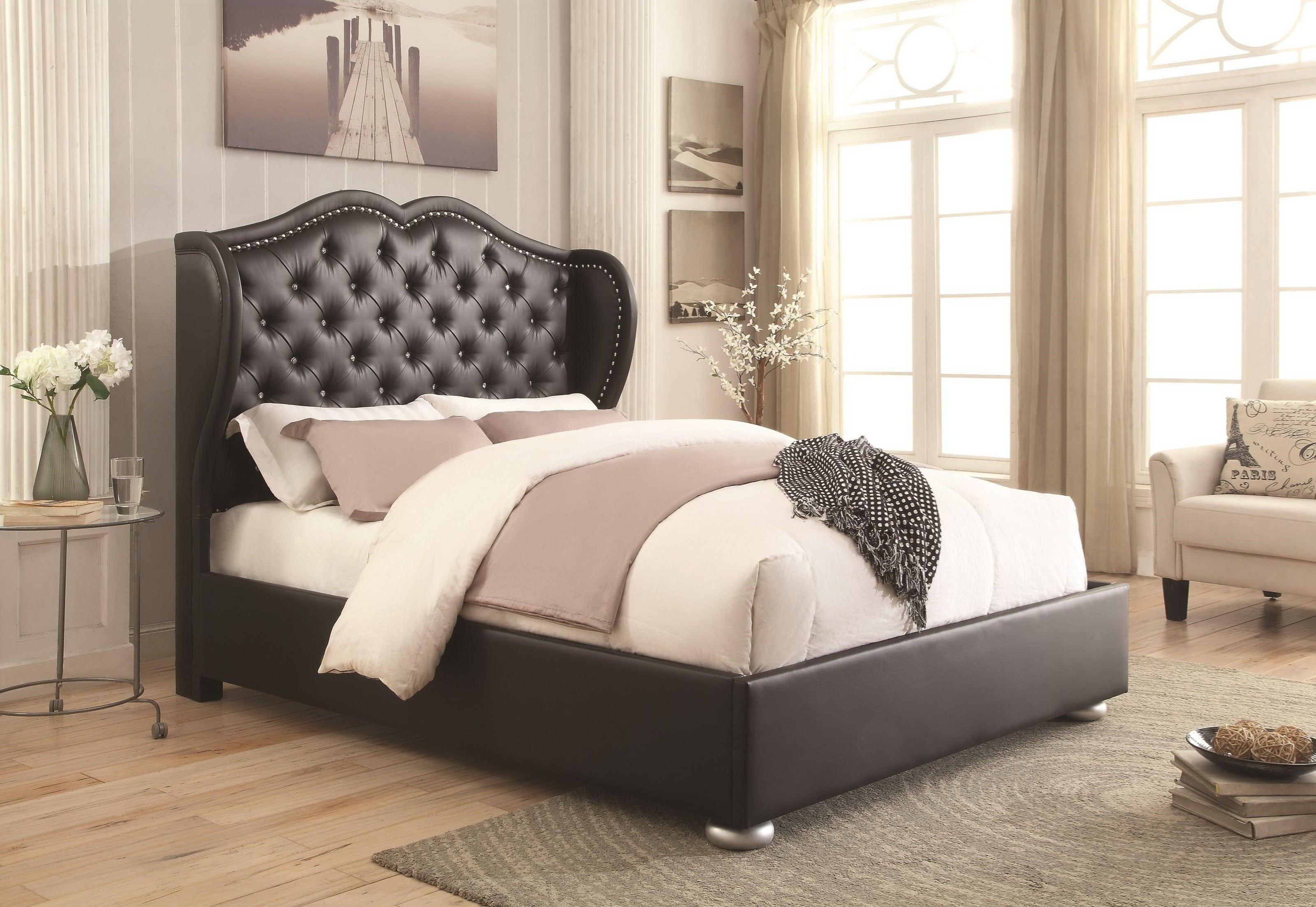 clarice upholstered bed frame las vegas furniture store mode