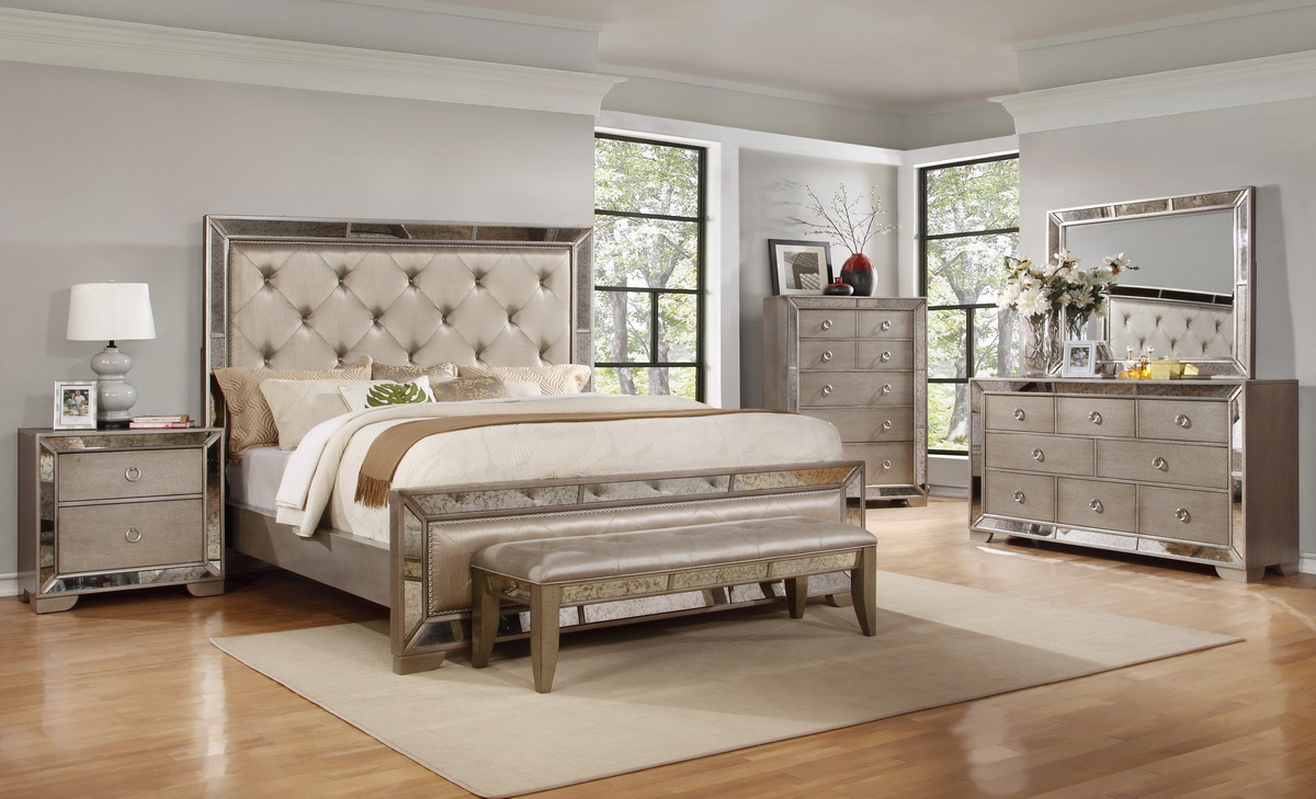 Luciana Antique Mirror Bedroom Set
